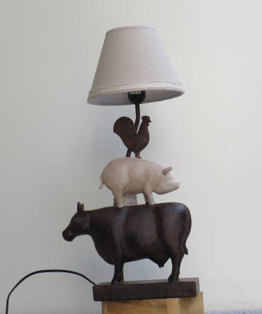 Tafellamp Koe, Varken, Kip