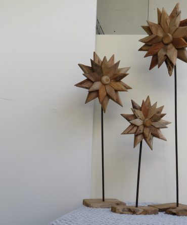 Houten Bloemen als set van 3
