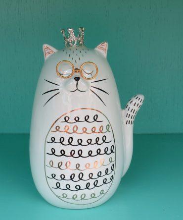 Beeld Kat met bril + kroon